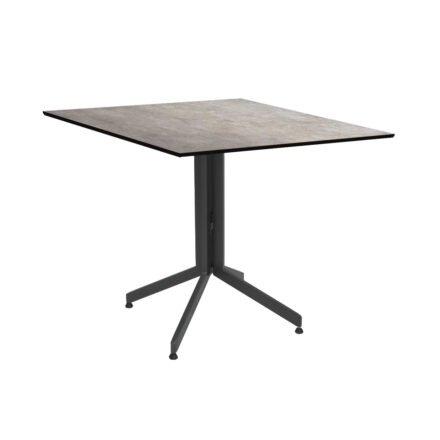 Stern Bistrotisch 80x80 cm, Gestell Alu anthrazit, Tischplatte HPL Metallic Grau