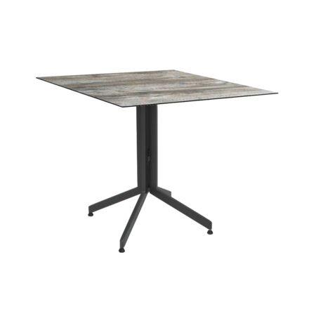Stern Bistrotisch 80x80 cm, Gestell Alu anthrazit, Tischplatte HPL Tundra Grau