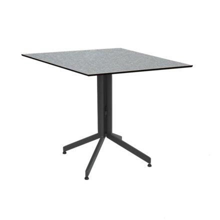 Stern Bistrotisch 80x80 cm, Gestell Alu anthrazit, Tischplatte HPL Uni Grau