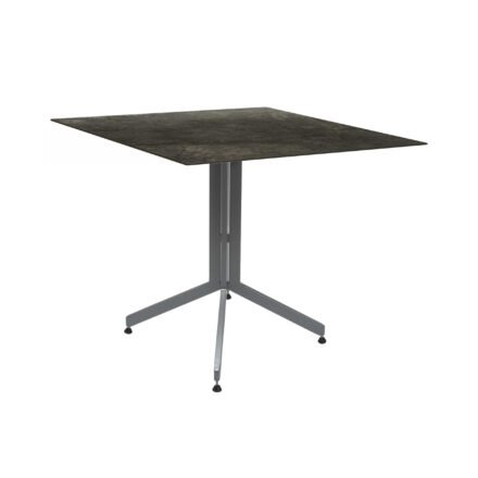 Stern Bistrotisch 80x80 cm, Gestell Alu graphit, Tischplatte HPL Dark Marble