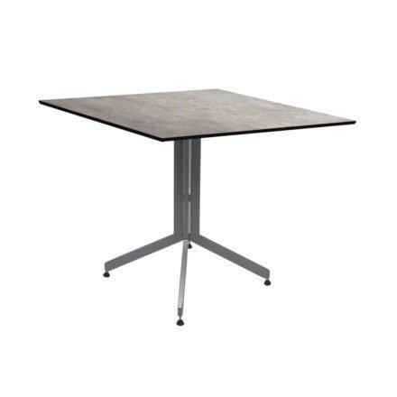 Stern Bistrotisch 80x80 cm, Gestell Alu graphit, Tischplatte HPL Metallic Grau