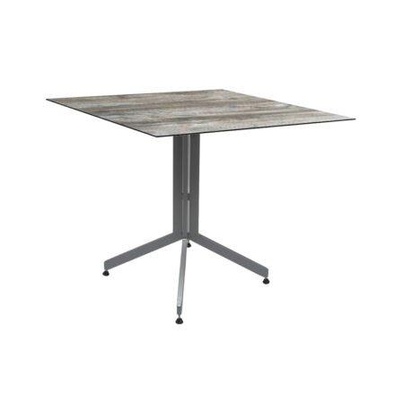 Stern Bistrotisch 80x80 cm, Gestell Alu graphit, Tischplatte HPL Tundra Grau