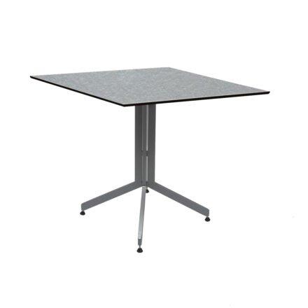 Stern Bistrotisch 80x80 cm, Gestell Alu graphit, Tischplatte HPL Uni Grau