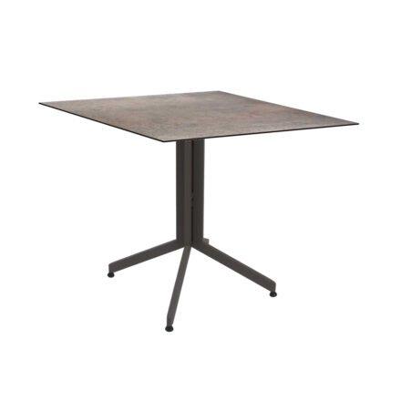 Stern Bistrotisch 80x80 cm, Gestell Alu taupe, Tischplatte HPL Smoky