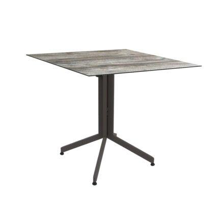 Stern Bistrotisch 80x80 cm, Gestell Alu taupe, Tischplatte HPL Tundra Grau