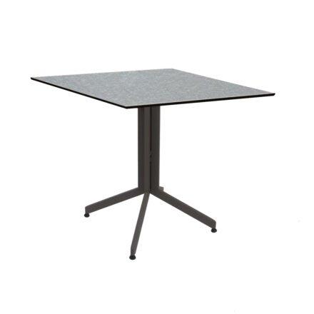 Stern Bistrotisch 80x80 cm, Gestell Alu taupe, Tischplatte HPL Uni Grau