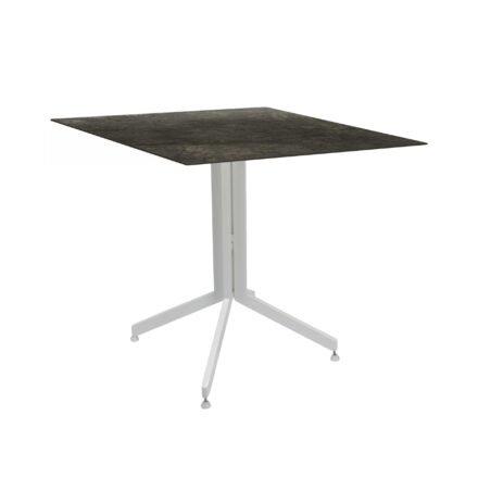 Stern Bistrotisch 80x80 cm, Gestell Alu weiß, Tischplatte HPL Dark Marble