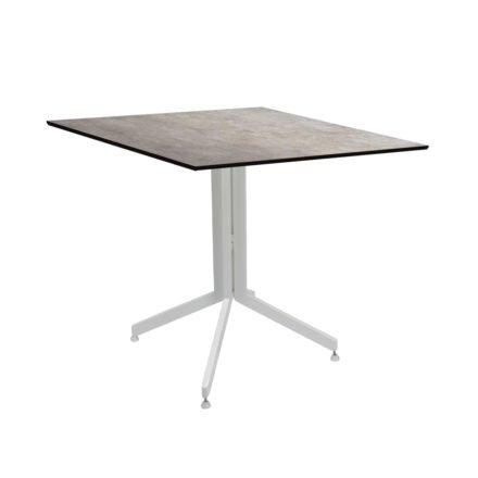Stern Bistrotisch 80x80 cm, Gestell Alu weiß, Tischplatte HPL Metallic Grau