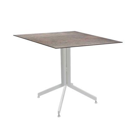 Stern Bistrotisch 80x80 cm, Gestell Alu weiß, Tischplatte HPL Smoky