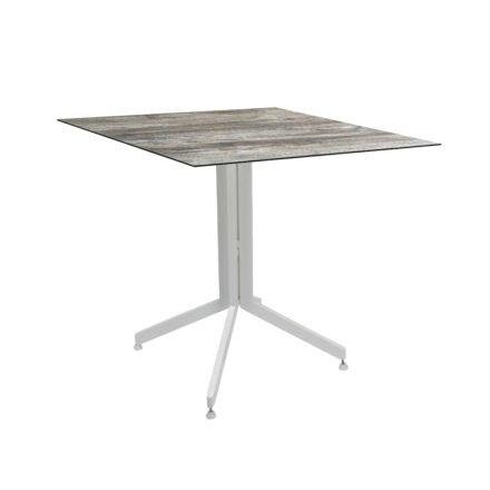 Stern Bistrotisch 80x80 cm, Gestell Alu weiß, Tischplatte HPL Tundra Grau