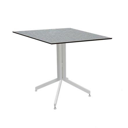 Stern Bistrotisch 80x80 cm, Gestell Alu weiß, Tischplatte HPL Uni Grau