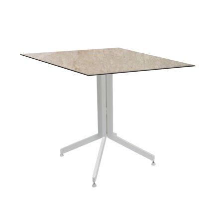 Stern Bistrotisch 80x80 cm, Gestell Alu weiß, Tischplatte HPL Vintage Shell