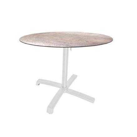 """Stern """"Livorno"""" Bistrotisch 80cm, Gestell Alu weiß, Tischplatte HPL Smoky"""