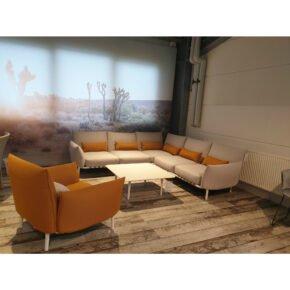 """DEDON """"BREA"""" Loungeset mit Ecksofa, Sessel und Loungetisch/Kaffeetisch weiß, Ausstellung Stockach"""