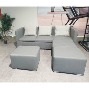 "Zebra ""Jack Lounge Textil"" Loungeset, Bezug elegance grey, Rückenkissen silver grey, Ausstellung Stockach"