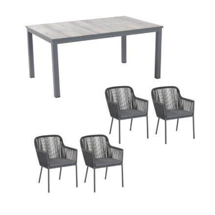 """Hartman Gartenstuhl """"Cairo"""", Gestell Aluminium xerix, Bespannung rope grau, inkl. Sitzkissen ash grey (ohne Rückenkissen) und Gartentisch """"Comino"""", Gestell Aluminium xerix, Tischplatte Keramik Grey Wood"""