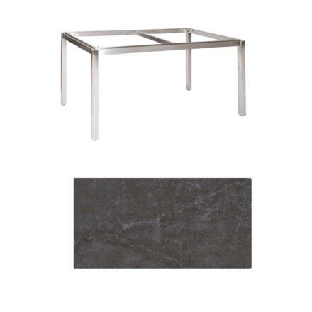 "Jati & Kebon Tischgestell ""Muri"" 160x90 cm, Edelstahl, Tischplatte Dekton Laos"
