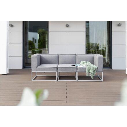 """Kettler """"Modena"""" 3-Sitzer mit 2x Eckteil, 1x Mittelteil, Gestelle Aluminium silber, Polster Sunbrella® flanelle"""