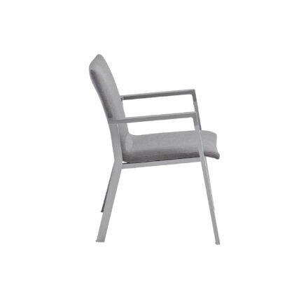 """Kettler """"Rasmus"""" Stapelsessel, Gestell Aluminium silber, Armlehne graphit, Polster Sunbrella® flanelle"""