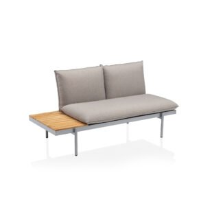 "Kettler ""Straight"" Lounge 2-Sitzer Endteil links, Gestell Aluminium silber, Polster Olefin beige-braun, Tisch Teak"