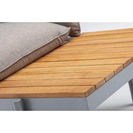 "Kettler ""Straight"" Lounge 2-Sitzer Endteil rechts, Gestell Aluminium silber, Polster Olefin beige-braun, Detail Tisch"
