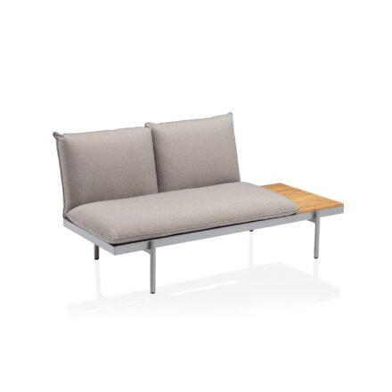 "Kettler ""Straight"" Lounge 2-Sitzer Endteil rechts, Gestell Aluminium silber, Polster Olefin beige-braun"