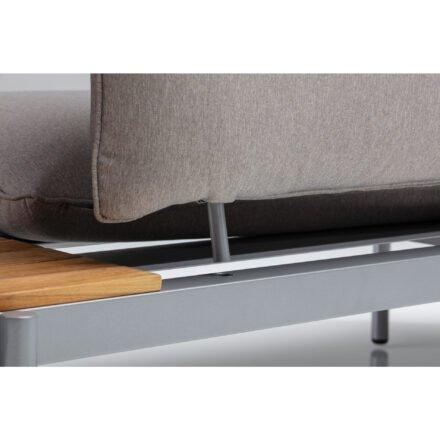 "Kettler ""Straight"" Lounge 2-Sitzer Endteil rechts, Gestell Aluminium silber, Polster Olefin beige-braun, Detail"