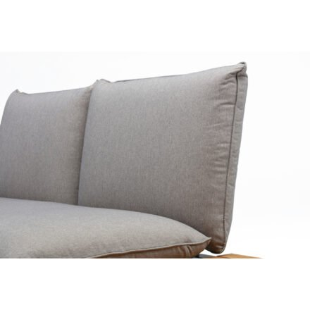 "Kettler ""Straight"" Lounge 2-Sitzer Endteil rechts, Gestell Aluminium silber, Polster Olefin beige-braun, Detail Polster"