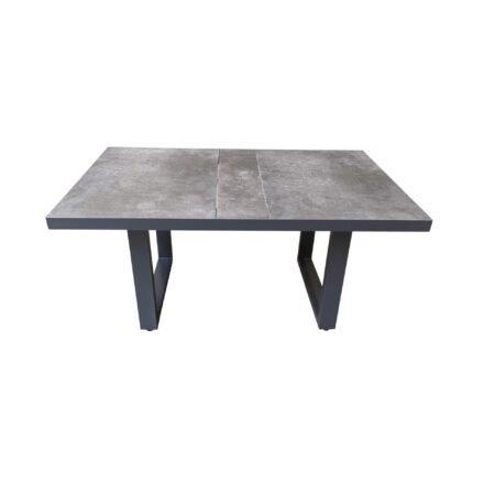 "Lesli Living ""Murcia"" Casual-Diningtisch, Alu charcoal, Tischplatte Keramik stone"