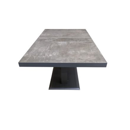 "Lesli Living ""Murcia"" Loungetisch 140x85 cm, höhenverstellbar, Alu charcoal, Tischplatte Keramik stone"
