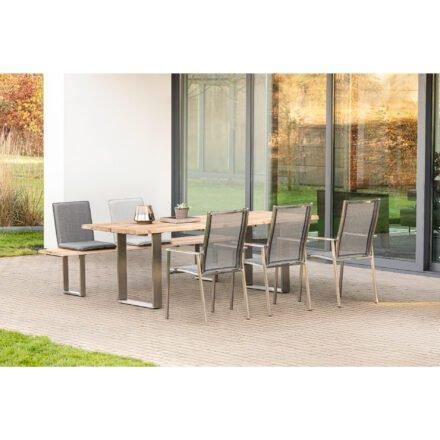 """Niehoff Gartentisch und -bank """"Solid"""" mit Sitzschale """"Nette"""" und Gartenstuhl """"Scalea"""", Gestell Edelstahl"""