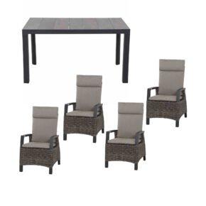 """Siena Garden Gartenmöbel-Set mit Dining-Sessel """"Corido"""" und Gartentisch """"Silva"""" 160x90 cm, Aluminium anthrazit matt, Geflecht charcoal grey, Tischplatte Keramik"""