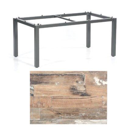 """SonnenPartner Tisch """"Base"""", Gestell Aluminium anthrazit, Tischplatte HPL Shiplap Pinie, 160x90 cm"""