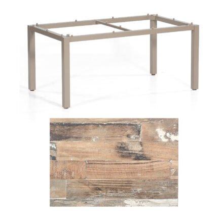 "SonnenPartner Tisch ""Base"", Gestell Aluminium champagner, Tischplatte HPL Shiplap Pinie , 160x90 cm"
