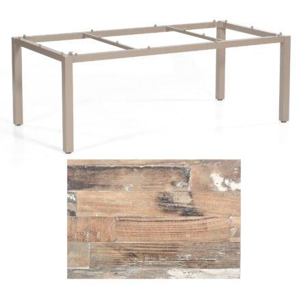 "SonnenPartner Tisch ""Base"", Gestell Aluminium champagner, Tischplatte HPL Shiplap Pinie , 200x100 cm"