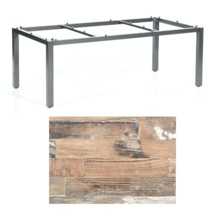 """SonnenPartner Tisch """"Base"""", Gestell Aluminium anthrazit, Tischplatte HPL Shiplap Pinie, 200x100 cm"""