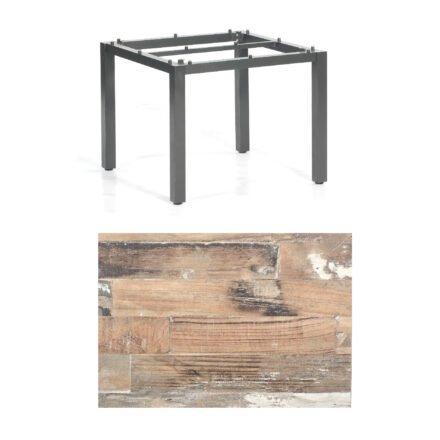 """SonnenPartner Tisch """"Base"""", Gestell Aluminium anthrazit, Tischplatte HPL Shiplap Pinie, 90x90 cm"""