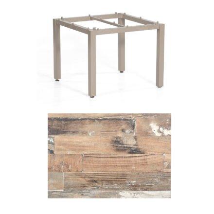 "SonnenPartner Tisch ""Base"", Gestell Aluminium champagner, Tischplatte HPL Shiplap Pinie , 90x90 cm"