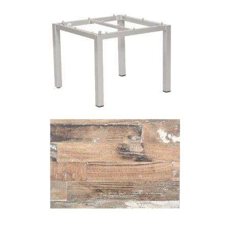 "SonnenPartner Tisch ""Base"", Gestell Aluminium silber, Tischplatte HPL Shiplap Pinie , 90x90 cm"