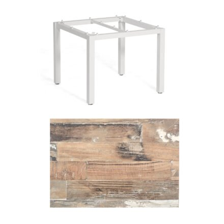 "SonnenPartner Tisch ""Base"", Gestell Aluminium weiß, Tischplatte HPL Shiplap Piniel, 90x90 cm"