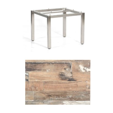 """SonnenPartner Tisch """"Base"""", Gestell Edelstahl, Tischplatte HPL Shiplap Pinie, 90x90 cm"""