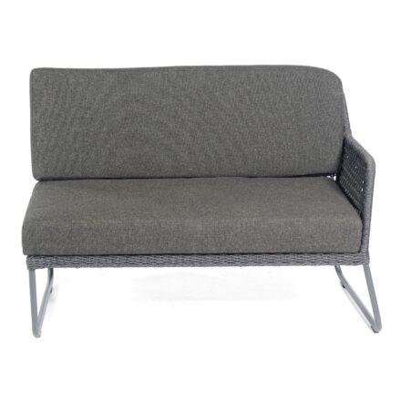 """Sonnenpartner """"Poison"""" Eckmodul 2-Sitzer rechts, Gestell Aluminium grau, Geflecht Polyrope dunkelgrau"""