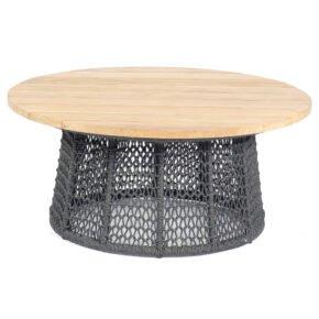"""Sonnenpartner """"Poison"""" Loungetisch, Gestell Aluminium grau, Geflecht Polyrope dunkelgrau, Tischplatte Teak"""