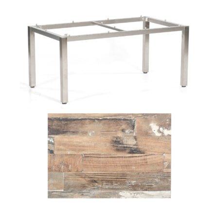 """SonnenPartner Tisch """"Base"""", Gestell Edelstahl, Tischplatte HPL Shiplap Pinie, 160x90 cm"""