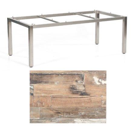 """SonnenPartner Tisch """"Base"""", Gestell Edelstahl, Tischplatte HPL Shiplap Pinie, 200x100 cm"""