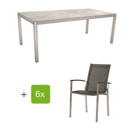 """Stern Gartenmöbel-Set mit Stapelstuhl """"Evoee"""" und Tisch 200x100 cm, Edelstahl, Textilen silbergrau, Tischplatte Dekton Lava hellgrau"""