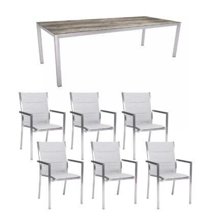 "Stern Gartenmöbel-Set ""Cardiff"", Gestelle Edelstahl, Sitzfläche Textilgewebe silber gepolstert, Tischplatte HPL Tundra grau"