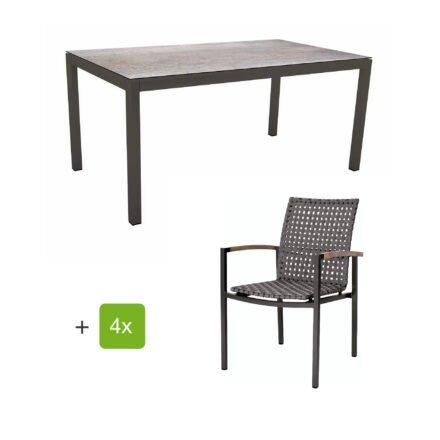 """Stern Gartenmöbelset mit Stapelsessel """"Lucy"""" und Tisch 160x90 cm, Gestelle Alu anthrazit, Gurtbespannung platin, Tischplatte HPL Smoky"""