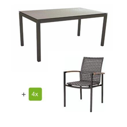 """Stern Gartenmöbelset mit Stapelsessel """"Lucy"""" und Tisch 160x90 cm, Gestelle Alu anthrazit, Gurtbespannung platin, Tischplatte HPL Uni grau"""