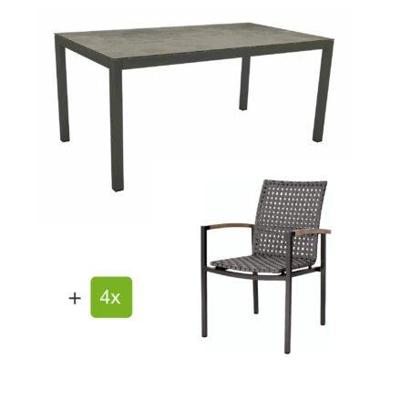 """Stern Gartenmöbelset mit Stapelsessel """"Lucy"""" und Tisch 160x90 cm, Gestelle Alu anthrazit, Gurtbespannung platin, Tischplatte HPL Zement"""